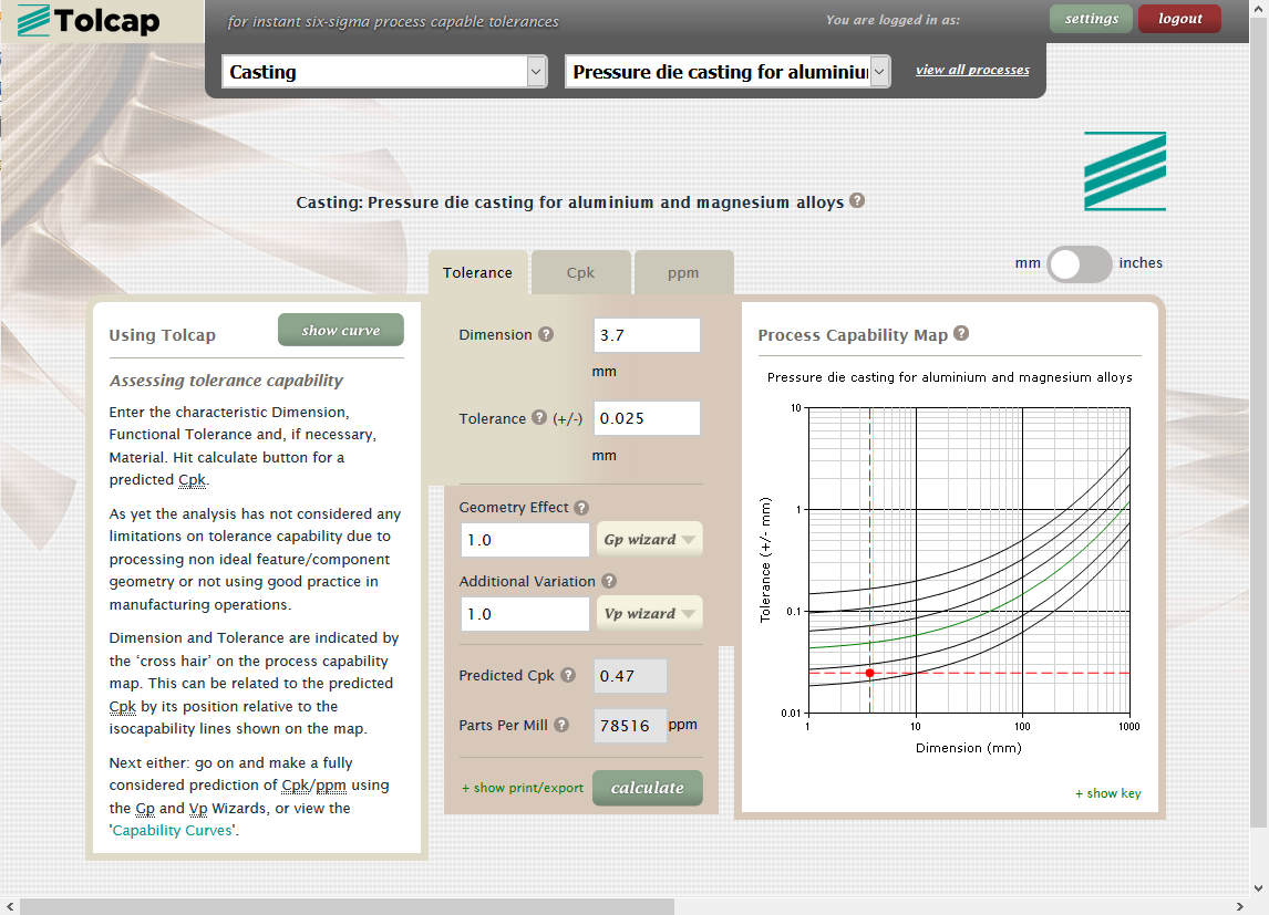 Use Tolcap to find process capability for pressure die cast aluminium alloy example