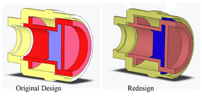 Illustrations of the solenoid original and redesign